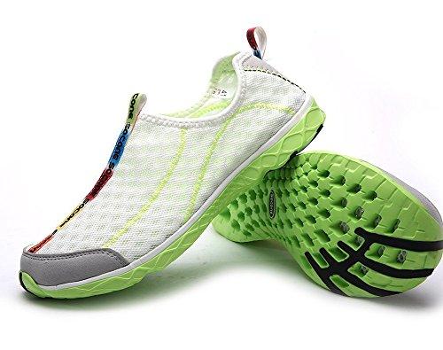 YIRUIYA Damen Aquaschuhe Atmungsaktiv Schwimmschuhe Slip-on Wassersport Unisex Weiß