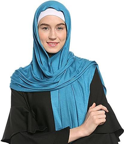 Ababalaya Mode für Frauen Leichte 100% Baumwoll Jersey Hijab Schal,Pulverblau