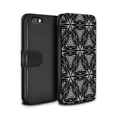 Stuff4 Coque/Etui/Housse Cuir PU Case/Cover pour Apple iPhone 5/5S / Formes Abstraites Design / Mode Noir Collection Formes Abstraites