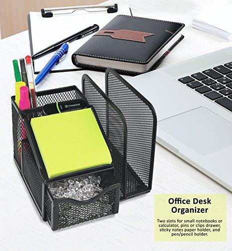 Greenco malla suministros de oficina organizador de escritorio con bloc de notas), color negro