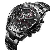 SONGDU Herren Schwarz Edelstahl Armbanduhr Geschäft Mode Multifunktion Chronograph Datum Kalender Quarz Uhren Männer