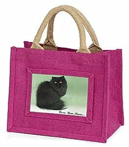 Advanta schwarz Warnschild Perser Katze Love You Mum Little Mädchen Einkaufstasche Weihnachten Geschenk, Jute, pink, 25,5x 21x 2cm