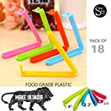 #2: One Stop Shop 18Pc 3 Different Size Plastic Food Snack Bag Pouch Clip Sealer for Keeping Food Fresh for Home Kitchen Camping Snack Seal Sealing Bag Clips (Multi Color)
