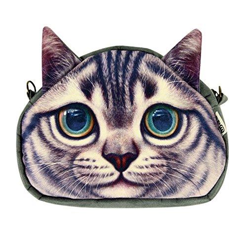 West See Kleine Damentasche Katze Umhängetasche Citytasche Schultertasche Handtasche, Farbenwahl (Grau) -