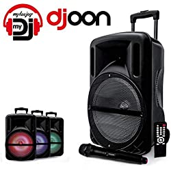 "Enceinte 12"" 500W DJOON MyDJ à LED RVB Mobile sur batterie Bluetooth USB SD Micro + Tél"