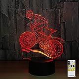 Lampade 3D Illusione Ottica Luce Notturna Mountain bike 7 colori Lampada da a LED con Telecomando per Bambini Compleanno I Regali