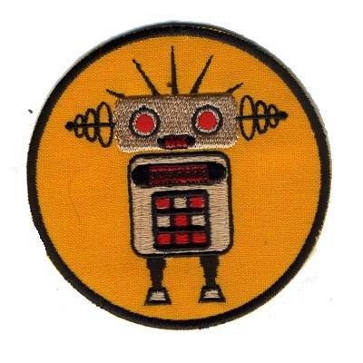"""Freak Scene® Aufnäher°Sticker°Patch°Bügelbild """"Roboter"""" Farbe: orange/gold"""