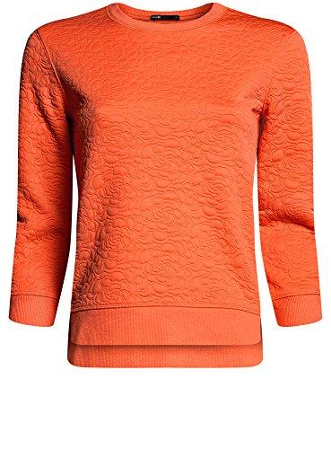 oodji Ultra Femme Sweat-Shirt en Tissu Texturé et Manche 3/4 Orange (5500N)