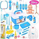 Elover Doctor Toy Set 31 pcs Doctor Kit Medical Case for Kids Doctor Role Play Pretend Toys Doctor Kit for Children Boys Girls Age 3+