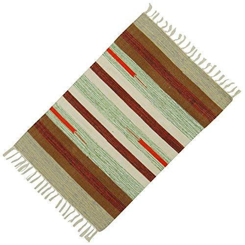 Werfen Läufer Teppich Handgewebte Streifenmuster Dari Baumwolle Jute-Matte Bodenteppich 36