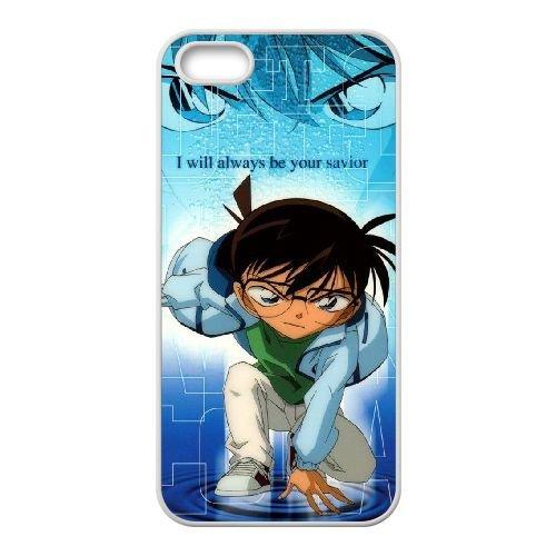 Detective Conan coque iPhone 5 5S Housse Blanc téléphone portable couverture de cas coque EBDXJKNBO10223