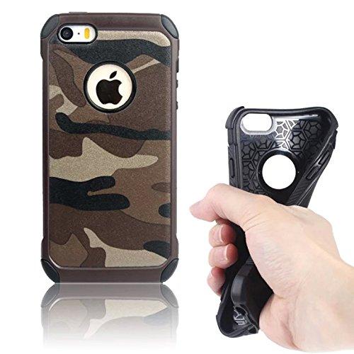 iPhone SE 5S Custodia Copertura Case Cover Bumper , Vandot Handytasche Dura Protettiva Protettivo Cassa (Army Camouflage Pattern)