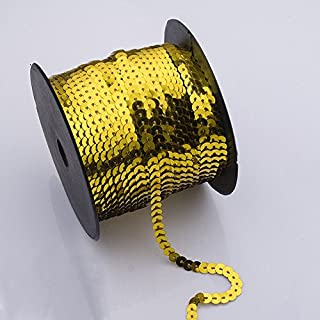 AsentechUK® 1 Roll 6mm Width Exquisite Laser Bright Flat Sequins Ribbon Sewing Craft Webbing DIY Garment Accessory (Gold)