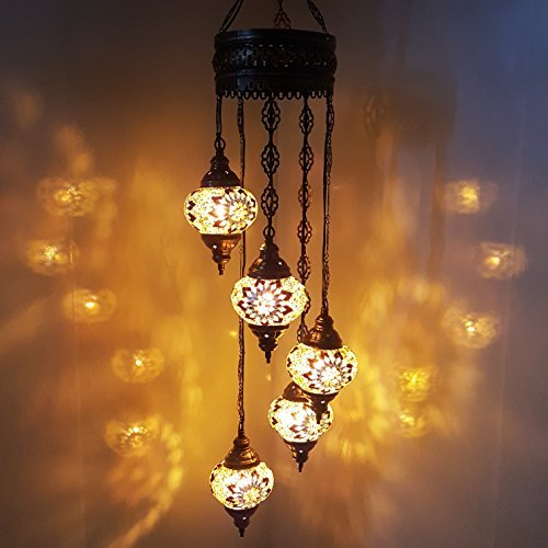 Turkish Moroccan Tiffany Style Hanging Glass Mosaic Chandelier Lamp Light - G16 X 5 B_Chandelier