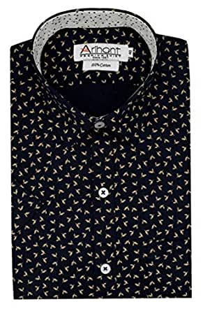 Arihant Golden Printed 100% Cotton Half Sleeve Regular Fit Formal Shirt for Men (AR810502_40)
