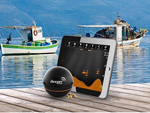Deeper Pro Plus mit WIFI und GPS von Friday Lab mit 230 Volt Ladegerät & 12V Autoladegerät Adapter - Fischfinder mit WIFI wireless für iOS & Android Fishfinder für Tablet Smartphone iPhone iPad Smartphone Tablet Android 4.0 Apple iOS 7.0 Deeper Pro + - 8