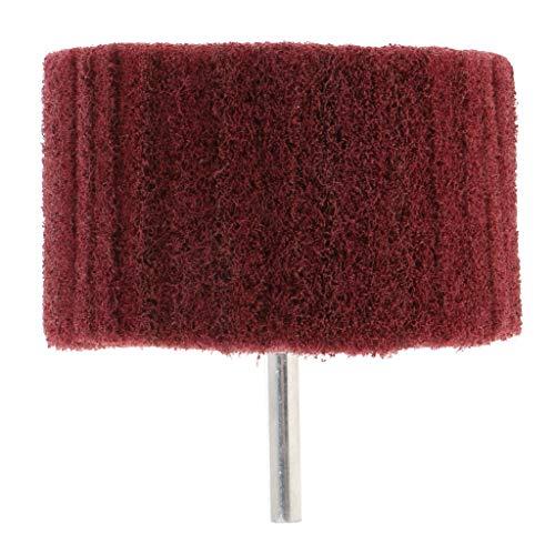 B Blesiya Hochwertige Polierscheibe Schleifscheibe Vlies Schleifrad mit Spanndorn, für Metall/Holz, 6 mm Rundschaft - 80 × 50 × 6 mm Rot