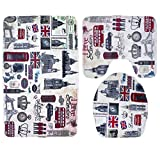 QXWL 3-Teiliges Badematte-Set mit Rutschfester U-Form-Matte, Badewannen-Waschlappen aus Flanell-Gewebe, Inklusive Badematte, Fußmatte und Toilettendeckel (Color : A)