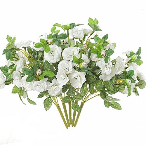 Justoyou 5pcs Soie roses bouquets de fleurs artificielles Mini Faux pour les mariages les maisons tombe Table Décoration de jardin, Tissu, blanc, Lot de 5