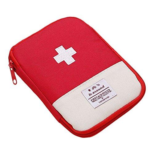 uu19ee Tragbarer Mini Erste Hilfe Tasche Home Notfall Kit Medizin Aufbewahrungstasche für Outdoor Aktivitäten Reise Camping Wandern, Rot