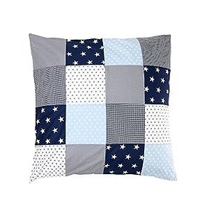 ULLENBOOM ® Baby Bettdeckenbezug 80×80 Blau Hellblau Grau (auch als Stubenwagen-, Kinderwagendecke, Dekokissen geeignet, Motiv: Sterne, Patchwork)