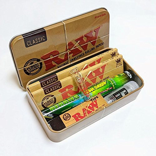 Smo King, RAW Loud Pack - Scatola classica in latta per tabacco e cartine, con esclusivo filtro in...