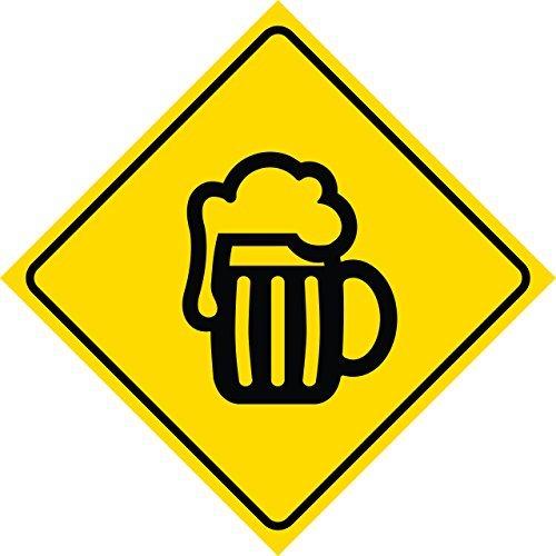 aqf527907 Bier Pint Becher Crossing Sign Outdoor Gelb Diamant Metall Schilder Neuheit Funny Aluminium Yard Schild 30,5x 30,5cm