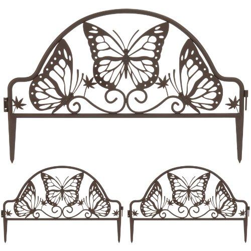 3x Beeteinfassung Einfass Nostalgie Schmetterling Kunststoff Rasenkante Beetumrandung