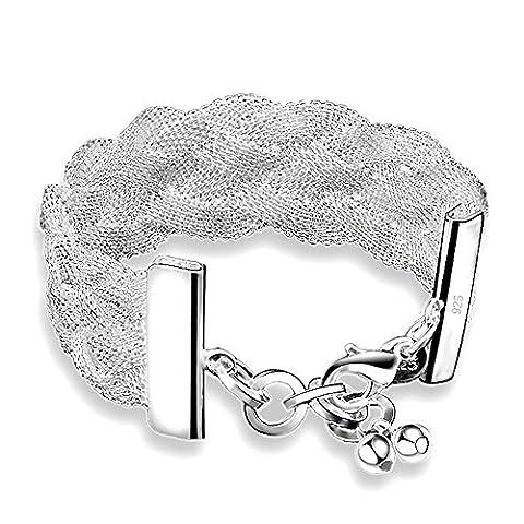 Kangqifen Schmuck Damen Mesh-Armband,925 silbernen Überzug Armschmuck,Breite 2,5cm - Länge 20cm