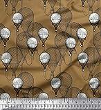 Soimoi Braun Baumwoll-Voile Stoff Heißluftballon Urlaub