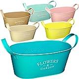 alles-meine GmbH 6 Stück _ Design - Blumentöpfe / Pflanzkübel / Pflanzschale - Metall -  Flowers & Garden - bunter Farbmix - Pastell  - OVAL - 34 cm - MITTEL - mit Henkel - ..