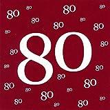 Servietten 80 Geburtstag mit Prägung 20 Stück, 3-lagig 33x33cm