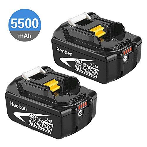 2 Stück Reoben BL1860B geeignet für Makita Akku 18V 5.5Ah Lithium wiederaufladbare Batterie BL1860B BL1850B BL1850 BL1840 BL1830 LXT-400 mit LED Indikator