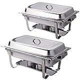 GOPLUS Set da 2 Pezzi Chafing Dish Scaldavivande Vassoi di Riscaldamento da Due in Acciaio Inossidabile Professionale
