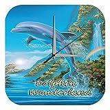 LEotiE SINCE 2004 Wanduhr Küchen Deko G. Huber Delfin Wonderland Acryl Wand Uhr Retro Nostalgie