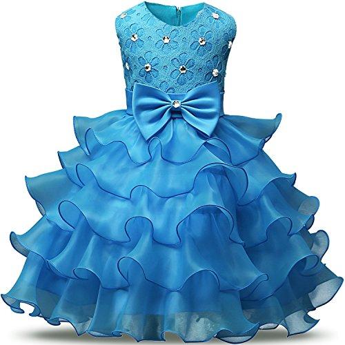 NNJXD Mädchen Kleid Kinder Rüschen Spitze Party Brautkleider Größe(110) 3-4 Jahre Hellblau