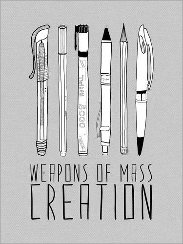 Posterlounge Alu Dibond 60 x 80 cm: Weapons of Mass Creation - Grau von Bianca Green
