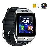 Smart Watch,Smart Uhr, Bluetooth Smartwatch, Armband-Telefon Uhr mit Schrittzähler, Touchscreen für Smartphones mit Android System DZ09 Silber