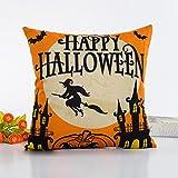 Internet Halloween canapé lit Home Café Decor taie d'oreiller Carré housse de coussin Lin Invisible fermeture à glissière 45cm*45cm (Multicolore #3)