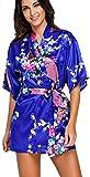 FLYCHEN Damen bunt satin Nachthemden japanische Kiminos Frauen Schlafanzug Saphirblau S