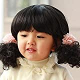 Kitchen & Housewares : Spritech(TM) Children's Lovely Stylish?Black Fluffy Realistic?Short Wavy Curly Hair Wig Fiber Synthetic Wig for 1-4 Years Old Girl
