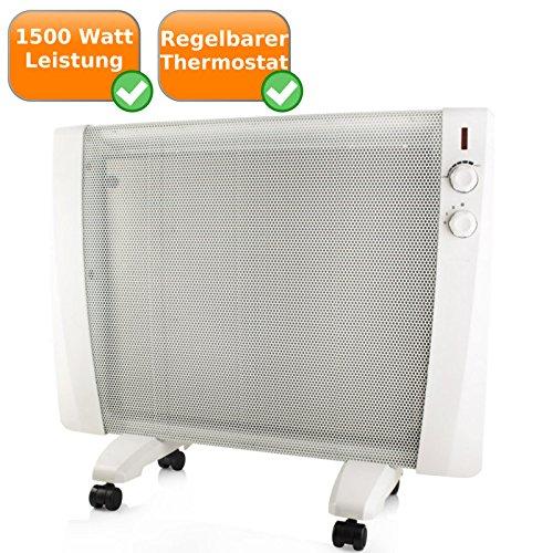 Wärmewellen Heizgerät, Zusatzheizung als Wand- oder Standheizung nutzbar, Metallgehäuse, 1500W, weiß