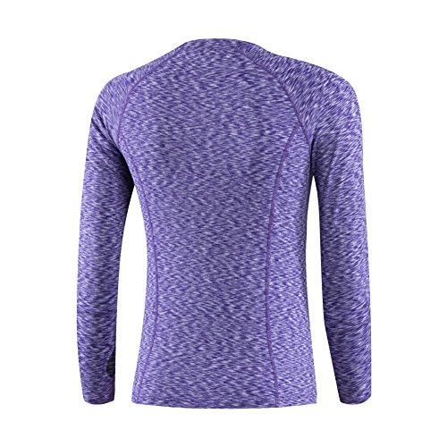 Yalatan Women Long Sleeve Casual Fitness T-Shirt Tops for Sport Fitness Running Violet