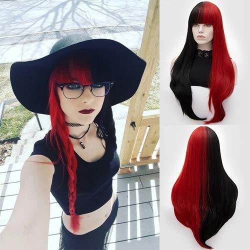Peluca de pájaro sintético largo recto a la moda mitad negro rojo elegante pelo con brazaletes natural...