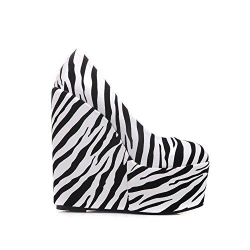 AgooLar Femme Pu Cuir à Talon Haut Rond Couleurs Mélangées Tire Chaussures Légeres Blanc