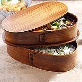 Japanische Bento Box Holz Lunchbox, sicher und gesund, Doppelschicht-Design Der Lunchbox Ermöglicht Es Ihnen, Kontaminationen Zu Vermeiden Und Eine Wundervolle Picknickzeit Zu Haben