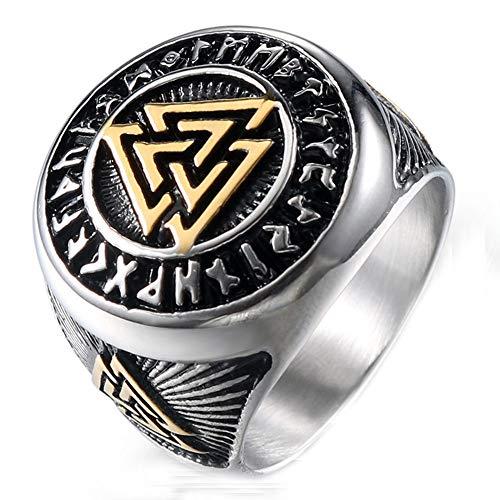 Herren Jahrgang Retro Wikinger Nordisch Dreieck Symbol Valknut Keltisch Knoten Ringe Im Rostfreier Stahl,Gold Silber,Größe 54 (17.2)