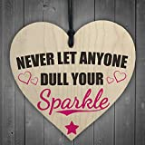 Red Ocean Never Let Anyone Dull Your Sparkle Wooden Hanging Heart Friendship Love Gift