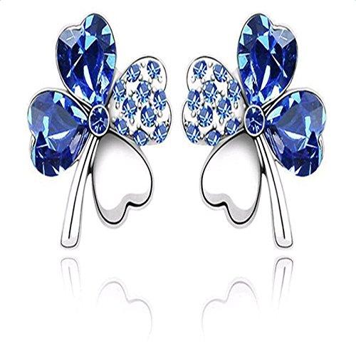 Fablcrew fashion orecchini dolce quadrifoglio cuore cristallo orecchini gioielli accessori blu