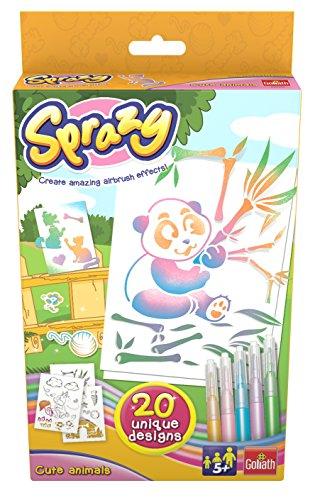 Goliath 35202 - Sprazy Refill Cute Animals, Airbrush Nachfüll-Set mit Schablonen und Stiften, Kreativer Malspaß für Jung und Alt, ab 4 Jahren -